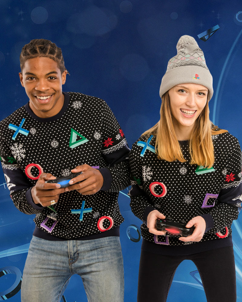 Official PlayStation Symbols Black Christmas Jumper / Ugly Sweater