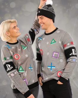 Official PlayStation Symbols Grey Christmas Jumper / Ugly Sweater