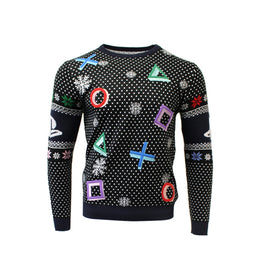Official PlayStation Black Symbols Christmas Jumper / Ugly Sweater