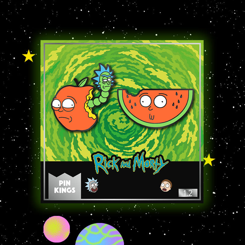 Pin Kings Rick and Morty Enamel Pin Badge Set 1.2 – Apple Morty & Watermelon Morty