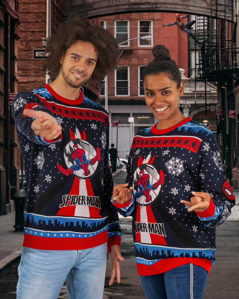 Official Spider-Man Swinging Christmas Jumper / Ugly Sweater