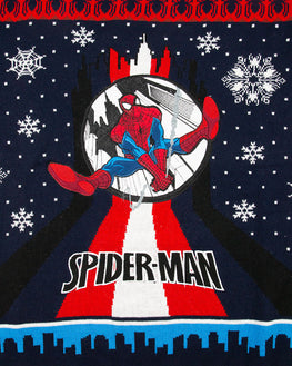 Official Marvel Spider-Man Swinging Christmas Jumper / Ugly Sweater