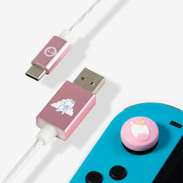 Numskull Unicorn LED USB C Cable & Thumb Grips (Nintendo Switch)