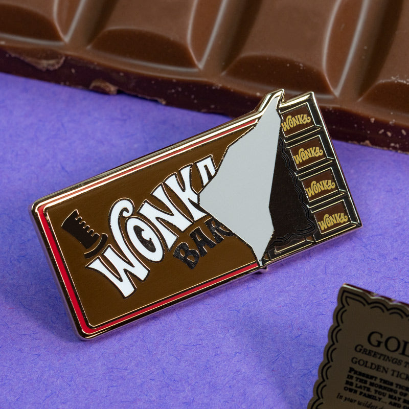 Pin Kings Willy Wonka & the Chocolate Factory Enamel Pin Badge Set 1.1 – Wonka Bar & Golden Ticket