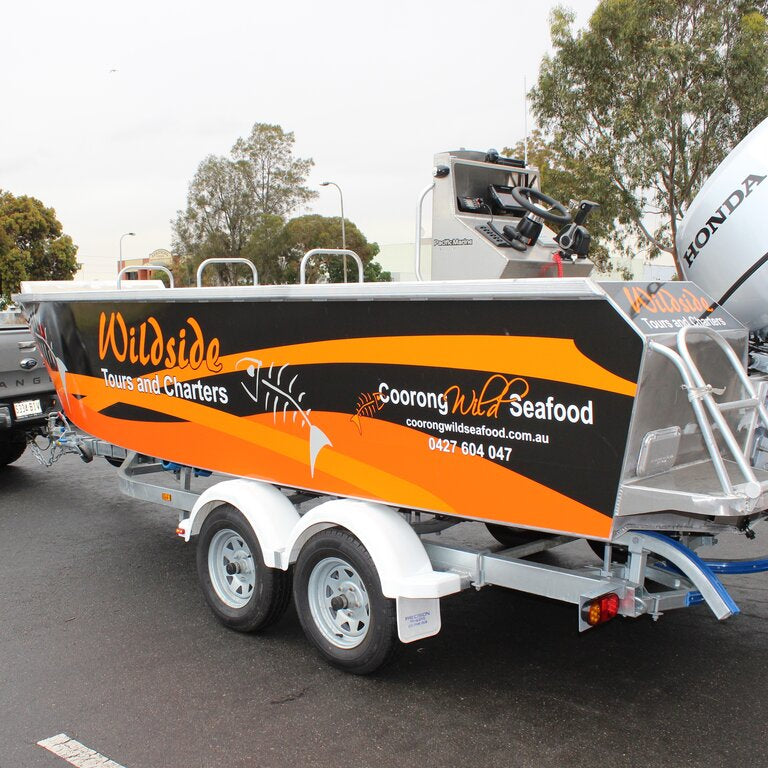 Full boat wrap with durable coloured vinyl and digital print