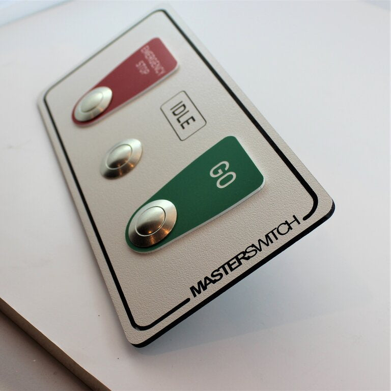 Whitch board with engraved coloured plastic, bold text and aluminium switches