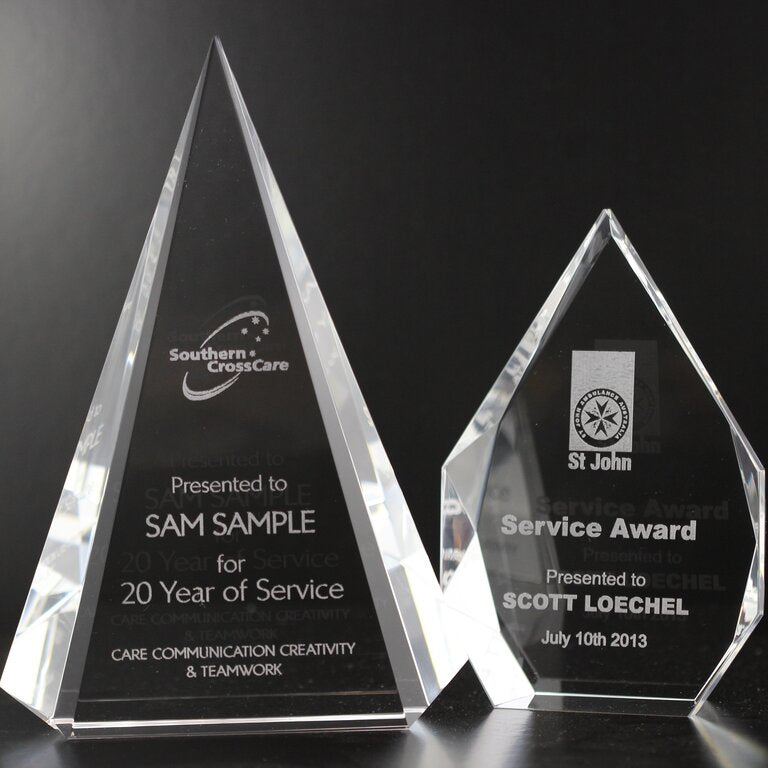 Laser engraved glass trophies