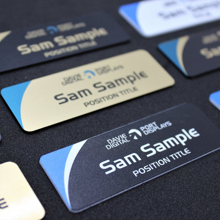 Premium magnetic name badges with Logo, Name and Title, Australia wide next day delivery