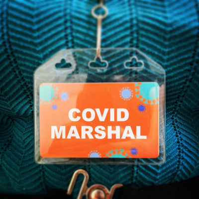 Covid Marshal ID Tag with soft card holder and lanyard, available in standard colours or with custom designs and text
