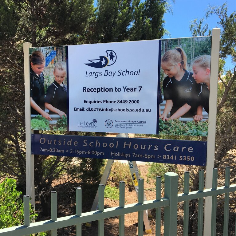 Free standing school sign with full colour photos, digital print on on ACM panel