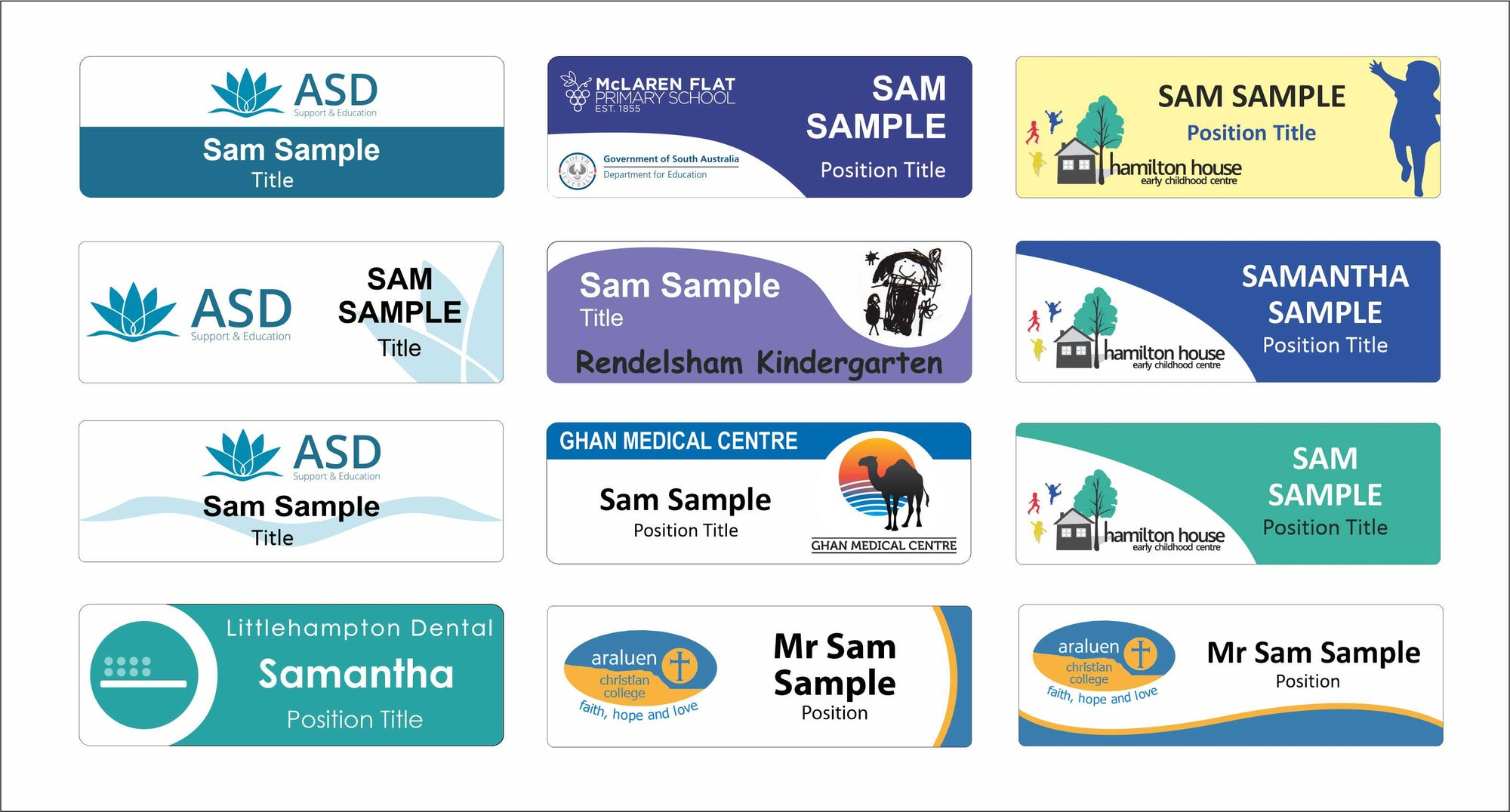 Name Badge templates, design ideas with colours graphics and text options for custom badges