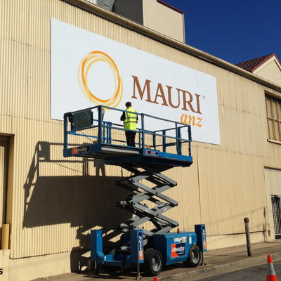 Installation of large ACM signage on building side