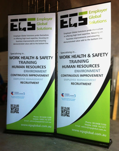 Pull up portable banner sign 2m x 850mm for plenty of space to display company logos colours and information