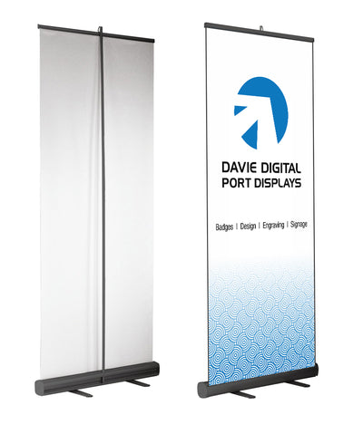 Pull-up banner stands, front and back with roll out full-colour printed sign and your logo, text, images or design.