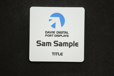 White plastic badge 50x50mm square with company logo, name and position title in full colour print
