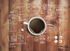 Coffee room wall mural white text on wood background digital printed on texutured vinyl