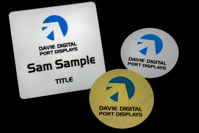 Custom Name badges made in Australia, Circle and square shapes in white, gold or silver available as standard, more custom plastic badges  can be laser cut to order