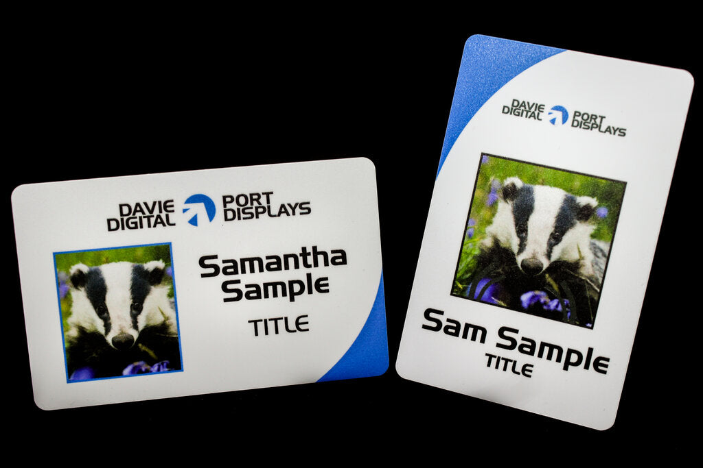 Photo ID Cards with vibrant colours and photos in landscape or portrait format