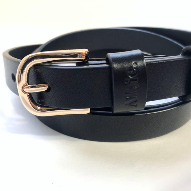 Albie Leather Belt- Black