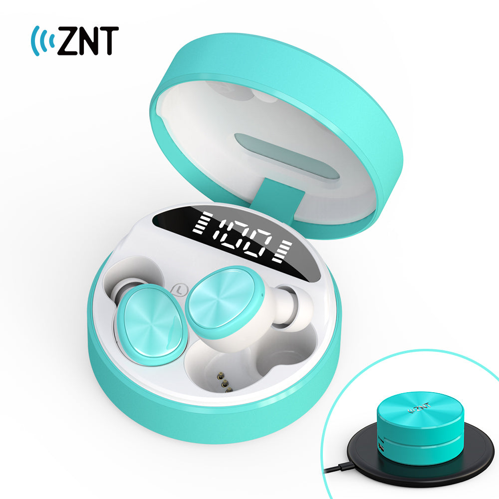 ZNT SoundBox Mini Christmas Gift Special Package Bluetooth 5.0 TWS Earbuds with LED Digital Display Blue