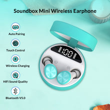 Load image into Gallery viewer, ZNT SoundBox Mini Christmas Gift Special Package Bluetooth 5.0 TWS Earbuds with LED Digital Display Blue