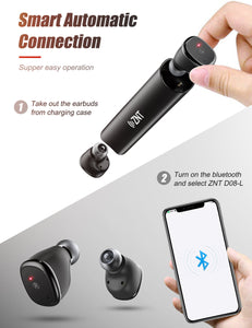 ZNT D08-L Bluetooth 5.0 Hi-Fi Mini Earphone True Wireless Sport Earbuds Black