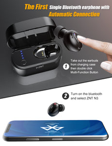 ZNT N3 Bluetooth 5.0 Auto Connect Single Mini Wireless Earphone Black