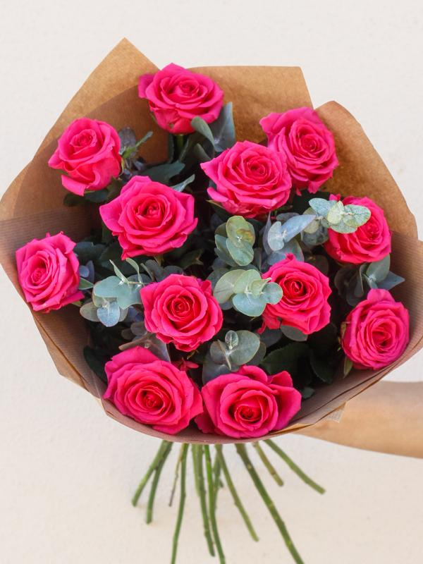 12 Pink Rose Hand-tied
