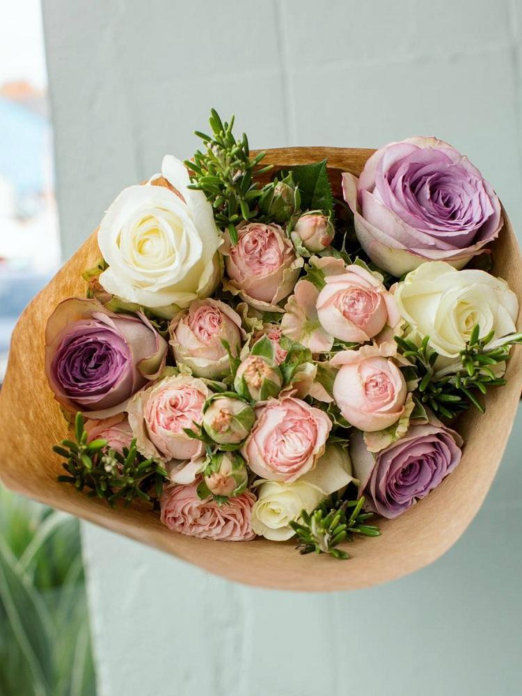 Soft Pastel Roses Hand-tied