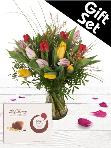 Mixed Tulip Vase with Chocolates