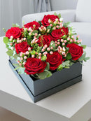 Red Rose Luxury Flower Hatbox