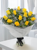 12 Yellow Rose Hand-tied