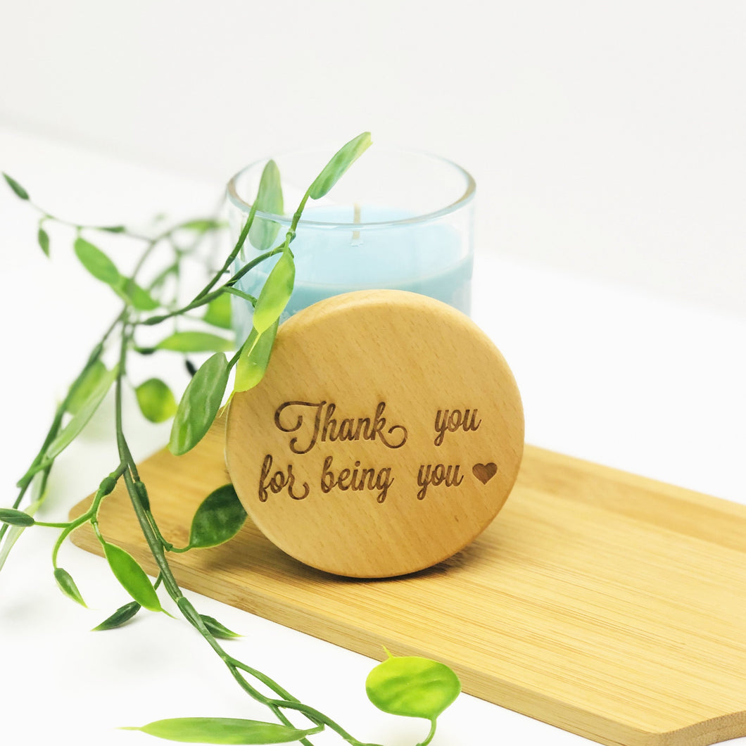 Personalised Wooden Oak Candle (medium) - ENGRAVED