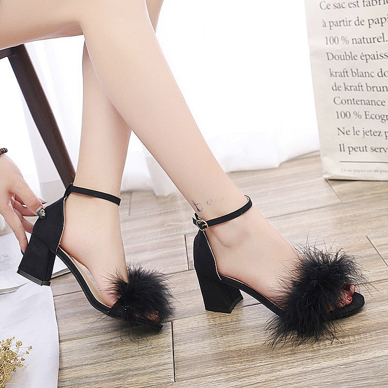 Luxury Fur Mid Heel Sandals