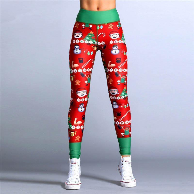 2018 New Exaggerated Yoga Style Pants Hot Sale Explosions Sexy Christmas Striped Print Pants S-XL Code Optional-EXERCISE & FITNESS-zadame.com-S-green/colorful-zadame.com