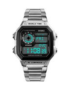 Men's Word Time Digital Sports Watch Dual Time Countdown Alarm Clock Night Stainless Steel Strap Watch