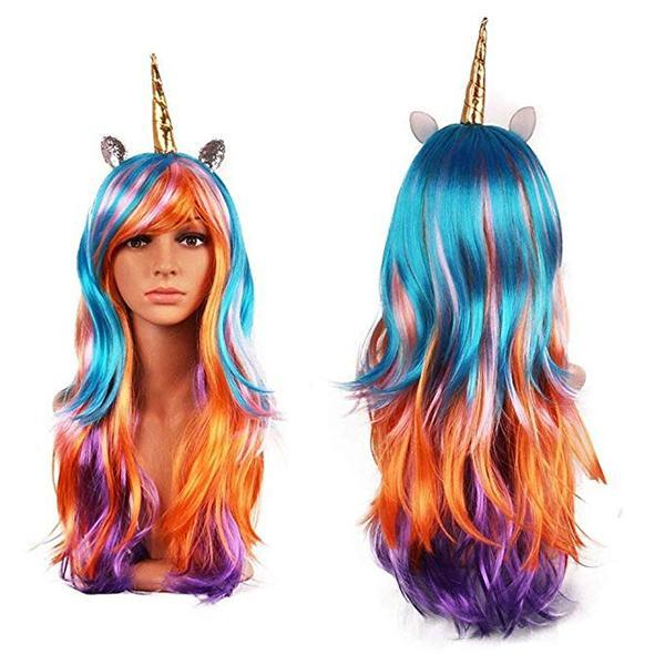 Unicorn Pony Cosplay Wig Rainbow Ponytail Long Curly Hair for Costumes Party