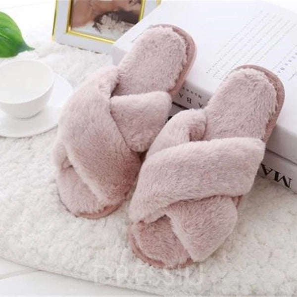 Women Home Slippers with Faux Fur Fashion Warm Shoes