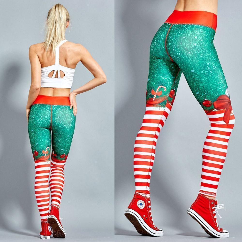 2018 New Exaggerated Yoga Style Pants Hot Sale Explosions Sexy Christmas Striped Print Pants S-XL Code Optional-EXERCISE & FITNESS-zadame.com-zadame.com