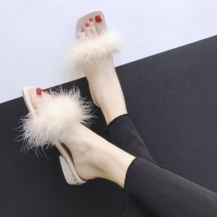 Furry Slip-on Sandals