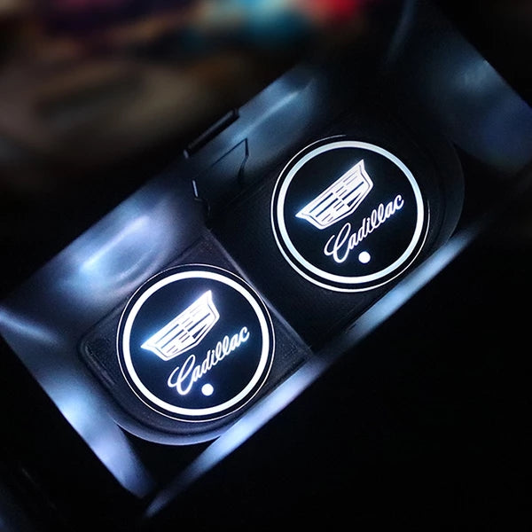 7 Colors Led Changing Car Logo Cup Coaster (2 PCS Set)