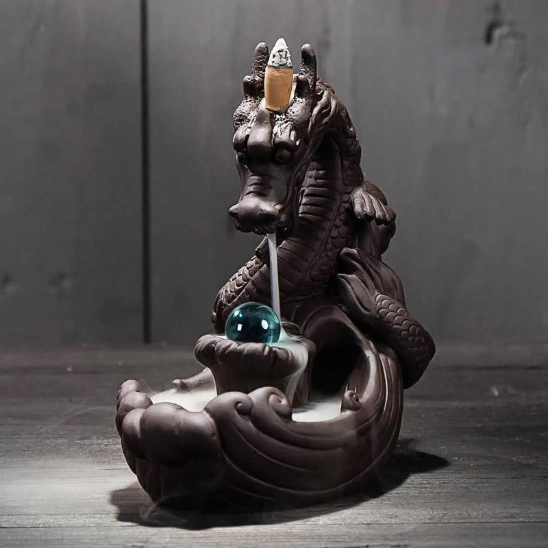 Backflow Incense Burner Dragon, Handmade Ceramic Backflow Incense Cone Sticks Holder Home Decor Porcelain with Crystal ball-HOME & GARDEN-zadame.com-BLACK-zadame.com