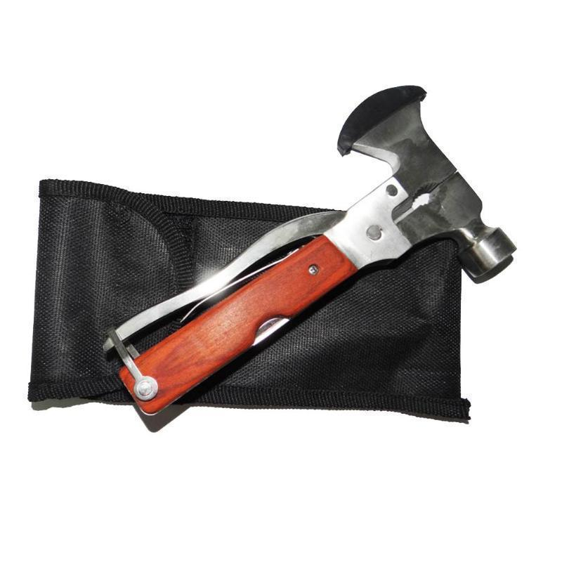 16-in-1 Multifunctional Mini Car Hammer Wood Handle Stainless Steel Life-saving Hammer/Claw Hammer/Axe-Tools & Outdoors-zadame.com-zadame.com