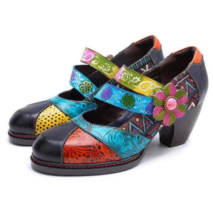 Handmade Leather Exquisite Printed Velcro Women's Shoes