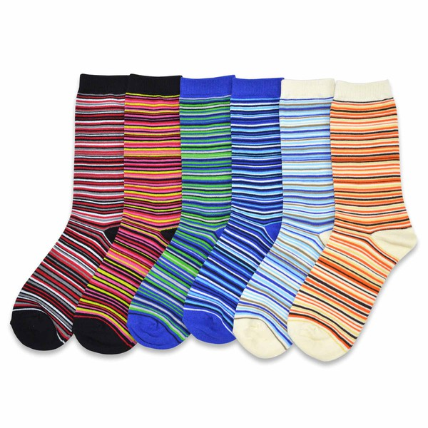 6PK Colorful Crew Socks - RoseabellaCo