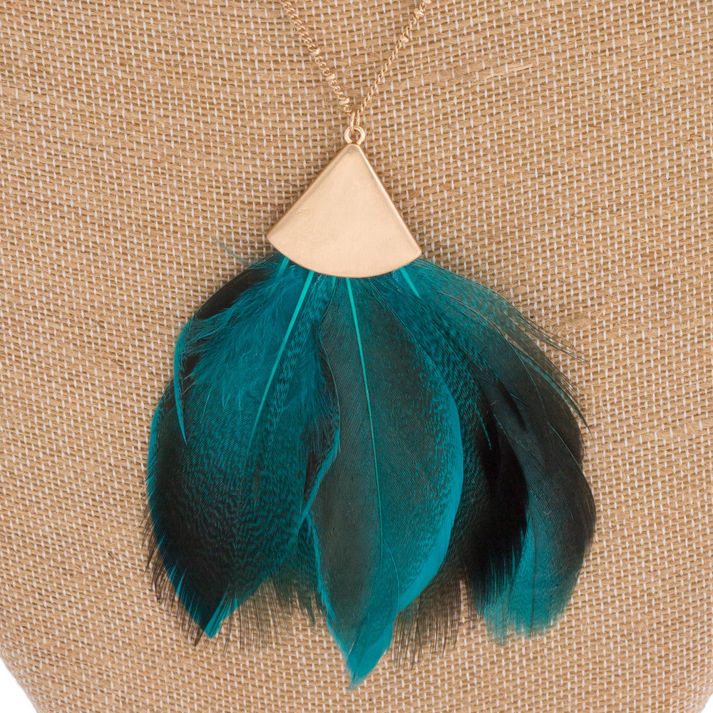 Teal Feather Necklace - Roseabella