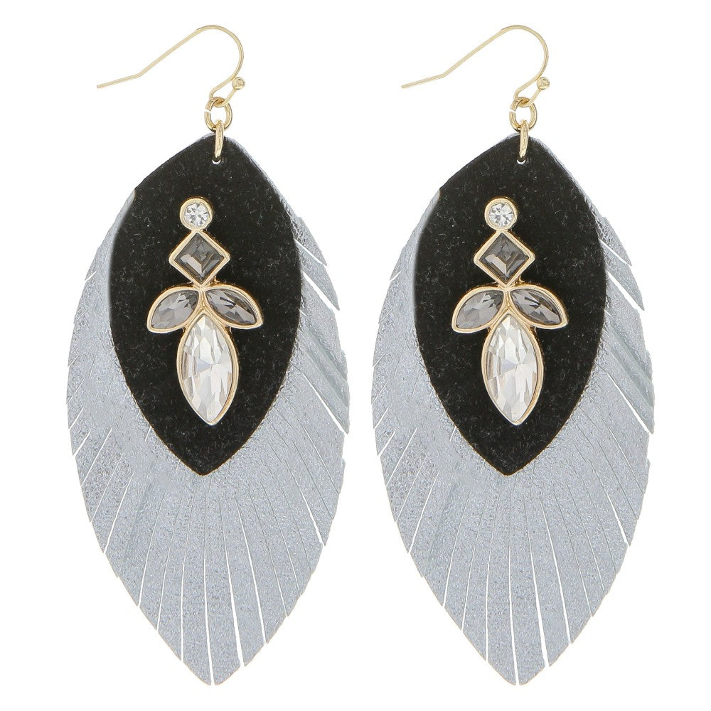 Faux Leather Rhinestone Feather Earrings - RoseabellaCo