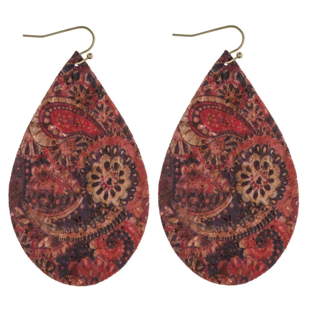 Paisley Cork Teardrop Earrings - Roseabella