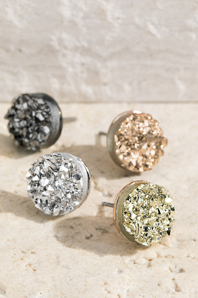 Round Druzy Post Earrings - Roseabella