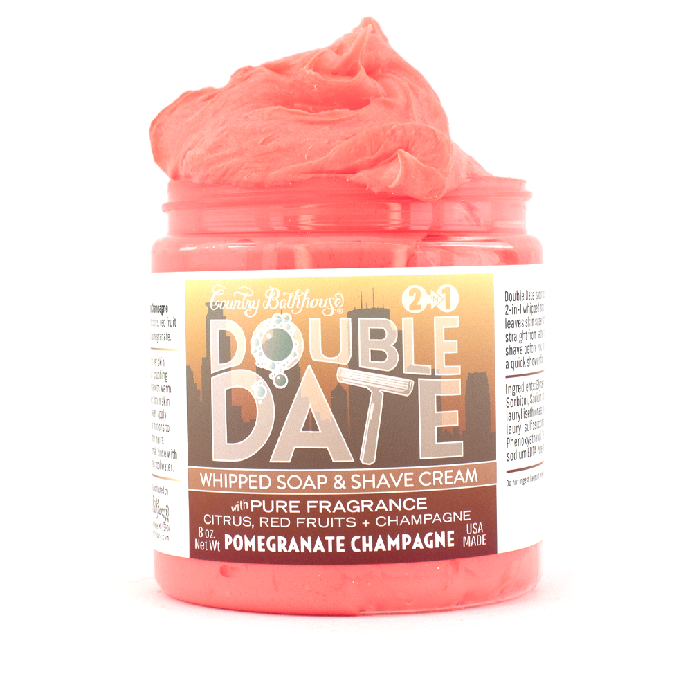 Double Date Whipped Soap and Shave - Pomegranate Champagne - Roseabella